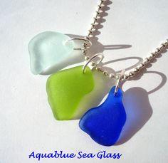 3 Drilled  Sea Glass Pendants Cobalt Pale Blue by aquablueseaglass, $24.99
