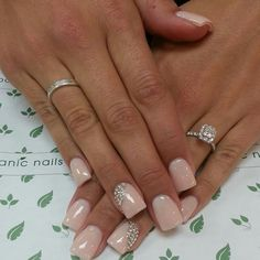 Glossy square tipped blush pink nails with crystal details