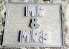 MR and MRS sign wedding gift engagement first by DunnCrafting