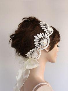 Juliette Cap Deco Bridal Lace Headpiece Applique by MammaMiaBridal