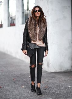 """justthedesign: """"A faux fur collar or stole is the perfect way to add some edge and glamour to your everyday look! Erica Hoida looks utterly glam in this outfit, consisting of distressed black denim jeans, a classic leather jacket, and a faux fur..."""