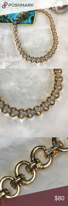 """Vintage Swarovski Crystal Necklace Vintage stamped Swarovski necklace. Gold plated.                                                                             16"""".                                                                                                Excellent vintage condition.                                         Makes a great holiday gift!                                      I accept reasonable offers or bundle for 20% off! Swarovski Jewelry Necklaces"""