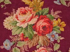 30s Cottage Deepest Burgundy Cabbage Roses Vintage Barkcloth Era Fabric Panel   eBay