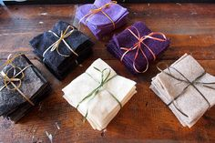 New Colors! Reclaimed 100% wool.  4 inch squares bundles of 10 by ShadyWoods