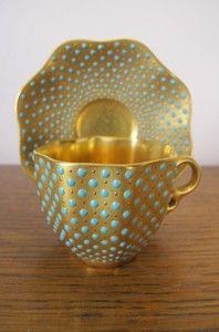 Coalport enameled jeweled minature cup