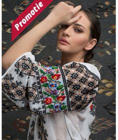 """Ie Traditionala Romaneasca Maneca Lunga Motivul Goblen. Traditional Romanian blouse called """"ie"""", hand sewn and embroidered Polish Embroidery, Folk Embroidery, Embroidery Fashion, Folk Fashion, Ethnic Fashion, Embroidered Clothes, Embroidered Blouse, Romanian Girls, Romanian Flag"""