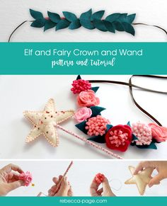 This felt crown and wand pattern makes an adorable dress up set for a child. The flower and leaf options mean you could create lots of different looks!