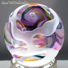 John Desmeules Sand Carved Glass Paperweight w Colorful Swirls Signed Dated | eBay