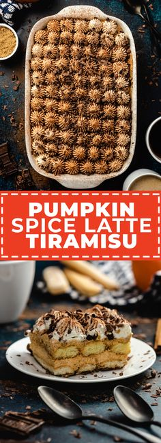 Pumpkin Spice Latte Tiramisu - Host The Toast Easy Cake Recipes, Pumpkin Recipes, Fall Recipes, Pumpkin Mousse, Pumpkin Spice Latte, Sweet Whipped Cream, Chocolate Cake Recipe Easy, Chocolate Shavings, Fall Baking