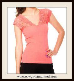 COWGIRL GYPSY TOP Coral Lace Shoulder Boho Top
