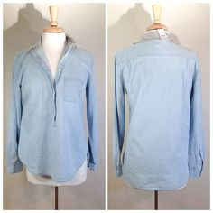 NWT Ann Taylor LOFT The Softened Shirt Beautiful baby blue half button up shirt. 100% cotton. It's been sitting in my closet for a year. 20 inch bust, 27 inch length. Back and front are the same length. It fits large for a small. Bundle for 10% off.  Ann Taylor Tops Button Down Shirts