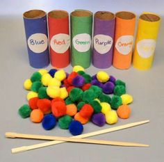 Teaching colors by practicing fine motor skills.the chopsticks may be complicated for most kids. could use clothespin, tweezers.great for fine motor Toddler Fun, Toddler Learning, Fun Learning, Early Learning, Learning Games For Toddlers, Toddler Themes, Mobile Learning, Learning Quotes, Kids Fun