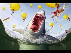 Tiago Hoisel is a Brazilian illustrator with a talent for producing fun, and humorous illustrations. In this article we will feature some of our favorite illustrations from his portfolio. Funny Illustration, Character Illustration, Illustration Animals, Illustration Styles, Le Kraken, Happy Shark, Funny Paintings, Drawn Art, Modern Canvas Art