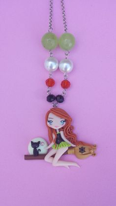 Witch necklace that glows in the dark fimo polymer by Artmary2