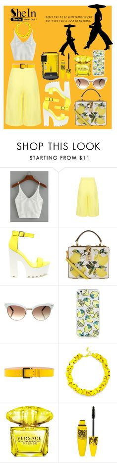 """""""ribbed knit crop cami top, SheIn contest"""" by koutso-bola ❤ liked on Polyvore featuring Dolce&Gabbana, Gucci, Dsquared2, Slate & Willow, Versace and Maybelline"""