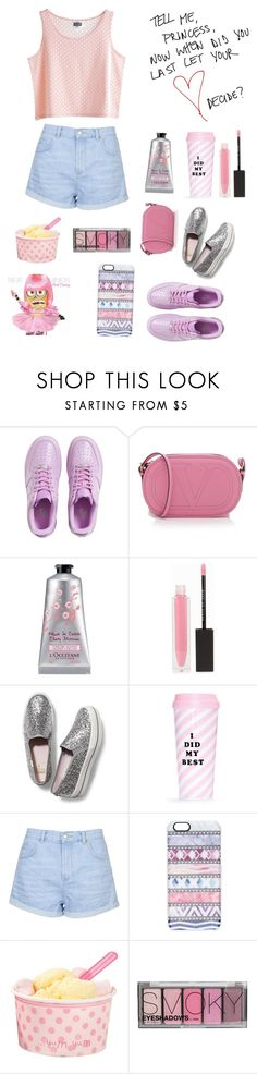 """""""Без названия #752"""" by m-gorodetskaya ❤ liked on Polyvore featuring NIKE, Valentino, L'Occitane, MAKE UP STORE, Keds, ban.do, MTWTFSS Weekday, Topshop, Ultimo and Casetify"""