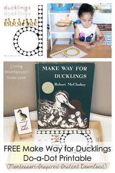 This free Make Way for Ducklings do-a-dot printable is a Montessori-inspired printable for home or classroom. It's a versatile instant download for phonics and unit studies. including a Make Way for Ducklings literature-based unit for toddlers or preschoolers - Living Montessori Now #Montessori #homeschool #ducklings #spring #MakeWayforDucklings #phonics #kidlit #FIAR Montessori Color, Montessori Toddler, Montessori Materials, Toddler Preschool, Toddler Activities, Montessori Homeschool, Homeschooling, Toddler Learning, Make Way For Ducklings