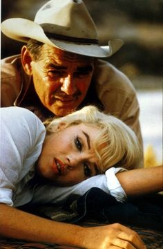 """Marilyn Monroe as Roslyn Tabor & Clark Gable as Gaylord Langland in """"The Misfits"""" release date Feb. 1,1961 photographed by Eve Arnold"""