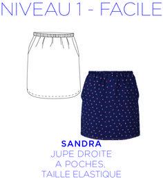 Patron - Jupe Sandra, Mini-jupe droite, à poches, patron à taille réelle du 36 au 44 : Patrons par coralie-bijasson