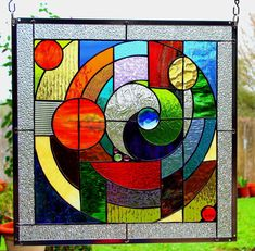 Stained Glass Window Panel 034 Round and Round 034 Abstract | eBay