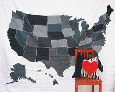 Full Sized Denim United States Map Quilt with 13 Colonies Flag Stitching