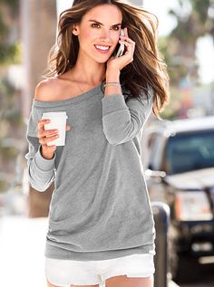 my soon-to-be fall staple | Fleece Off-the-Shoulder Tunic | Victoria's Secret