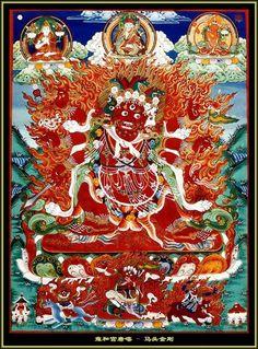 Hayagriva: with the head of a horse....Three Roots - Guru, Yidam, Dakini Wikipedia, the free encyclopedia http://en.wikipedia.org/wiki/Three_Roots