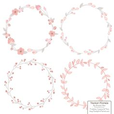 Floral Wreaths & Laurels in Soft Pink - Soft Pink Flower Wreath, Soft Pink Wreath, Wreath Clipart, Laurel Clipart