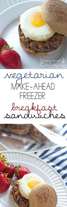 Vegetarian Make-Ahead Breakfast Sandwiches - spend an hour or so getting these sandwiches together for healthy homemade breakfasts before work, school, or sports | Happy Food Healthy Life