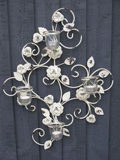 Flower Design Metal Wall Art Sconce T-light Glass Candle Holder Decor