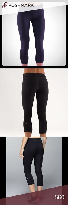 Lululemon Run Inspire Crops Authentic black crop tights by Lululemon. Made with Luxtreme fabric and LYCRA fiber for shape retention. Includes mesh fabric panels to help you cool off after a hard workout. Zipper pocket in the back to hold valuables and 2 small internal pockets for keys or credit cards. In very good condition. As with any lulu products, there is some minor pilling. These are also discontinued! lululemon athletica Pants Ankle & Cropped