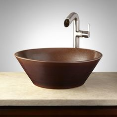 Islandia+Hand-Glazed+Pottery+Vessel+Sink+-+Cappuccino+