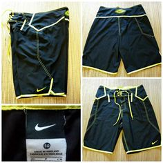 6fba685b81 NIKE Men's Size 30 BOARD SHORTS SWIM TRUNKS - Black with Neon Yellow SWOOSH  #Nike