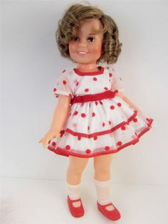 """Iconic #ShirleyTemple 1972 Ideal doll. 16"""" Vinyl dressed in her classic #StandUp and Cheer Dress, still retains her original curls and hairpins. www.Connectibles.net"""
