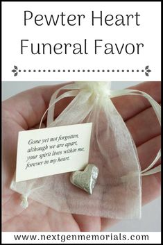 """Pewter Heart Funeral Favor. Ideal favor, a pewter heart the a note, """"Gone but not forgotten, although we are apart, your spirit lives within me, forever in my heart. #funeralfavor, #memorialgift, #pewterheart, #Mom, #funeral, #idea"""