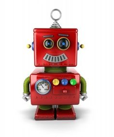Little vintage toy robot with a smile over white background from Stock Photo