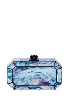 Fiona Faceted In Blue Tie Dye And Obsidian Sand by Edie Parker - Moda Operandi