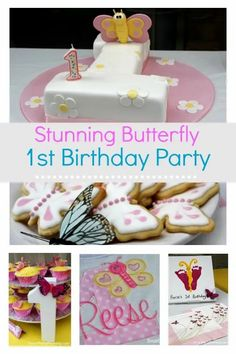 Easy to create butterfly theme party, perfect for a 1st birthday or baby shower. These ideas are easy to recreate and are fun for everyone involved. With simple decoration, a party to remember is easier to create than you might think. Butterfly 1st Birthday, Butterfly Theme Party, 1st Birthday Girls, 1st Birthday Parties, Kid Parties, Birthday Ideas, Cupcakes, Girl Themes, Party Food And Drinks