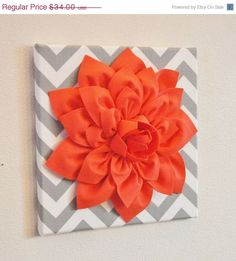 "MOTHERS DAY SALE Wall Flower Decor -Coral Dahlia on Gray and White Chevron 12 x12"" Canvas Wall Art- Baby Nursery Wall Decor-"