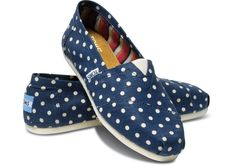 Navy Polka Dots TOMS- I want these for fall!