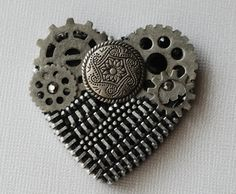Silver Steampunk Style Vintage Zipper Brooch by ZipperedHeart, $14.00