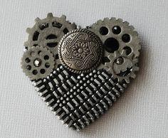 Broche de cremallera Vintage plata estilo por ZipperedHeart en Etsy