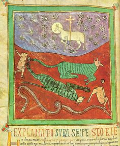 B Urgell 184V - Beatus of Liebana - Beatus d'Urgell, f ° 184V The Lamb winner of the Beasts and the Snake.
