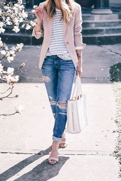 boyfriend jeans  stripe top and pink blazer