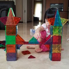 Build a ferris wheel with Magna-Tiles What shapes do you see in this ...