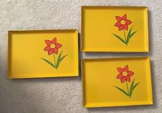 3 Vintage Lacquer Ware Norleans Midcentury Snack Trays Orange Flower Yellow | eBay Snack Trays, Orange Flowers, Yellow Black, Mid Century, Joy, Vintage, Glee, Orange Blossom, Being Happy