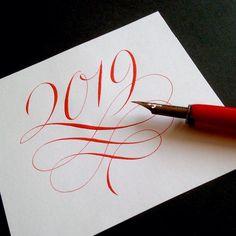 Calligraphy Cards, Calligraphy Handwriting, Calligraphy Alphabet, Penmanship, Writing Art, Diy Christmas Cards, Illuminated Manuscript, Happy New Year, Graphic Design
