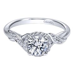 Gabriel NY | Engagement Rings | Engagement Jewelry 14k white gold contemporary halo oval center stone