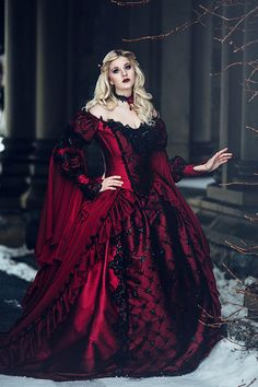 Gothic Sleeping Beauty Red and Black Sparkle by RomanticThreads