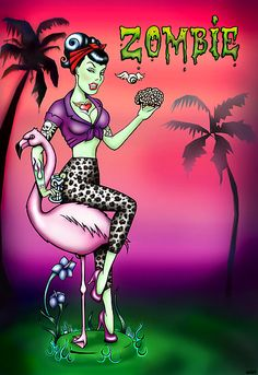 Zombie Pin Up Art by Isobel Von Finklestein Zombie Pin Up, Zombie Style, Zombie Art, Rockabilly Tattoos, Rockabilly Art, Zombie Kunst, Brain Tattoo, Up Animation, Zombie Monster